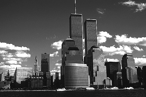[View of World Trade Center from the Hudson River - bw_wtc57109930.jpg - 136305 Bytes]