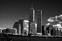 [Freighter on the Hudson with World Trade Center Towers]