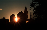 [Sunset Silhouette of Empire State Building]