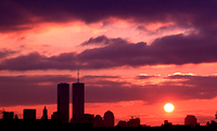 [Dramatic Sunset Behind Twin Towers]