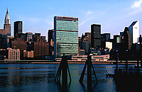 [East Riveer View of United Nations with Ferry Pylons]