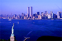 [Aerial View of Twin Towers and Statue of Liberty]